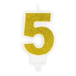Verjaardagskaars cijfer 5 | Gouden glitters