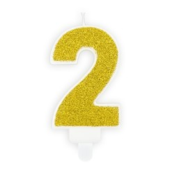 Verjaardagskaars cijfer 2 | Gouden glitters