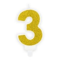 Verjaardagskaars cijfer 3 | Gouden glitters