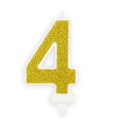 Verjaardagskaars cijfer 4 | Gouden glitters