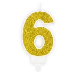Verjaardagskaars cijfer 6 | Gouden glitters