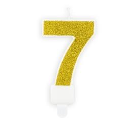 Verjaardagskaars cijfer 7 | Gouden glitters