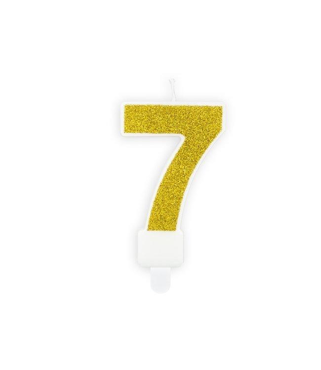 PartyDeco Verjaardagskaars cijfer 7 | Gouden glitters