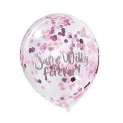 Confettiballonnen roze | Same Willy Forever | Vrijgezellenfeest | 5 stuks