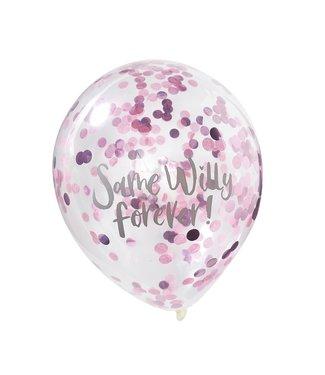 Ginger Ray Confettiballonnen roze | Same Willy Forever | Vrijgezellenfeest | 5 stuks