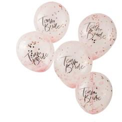 Confettiballonnen roze | Team Bride | Vrijgezellenfeest | 5 stuks