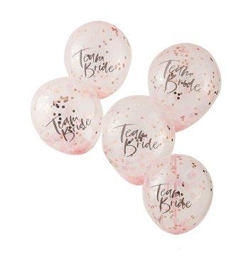 Ginger Ray Confettiballonnen roze | Team Bride | Vrijgezellenfeest | 5 stuks