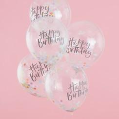 Confettiballonnen Happy Birthday Pastel | 5 stuks