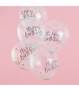 Ginger Ray Confettiballonnen Happy Birthday Pastel | 5 stuks