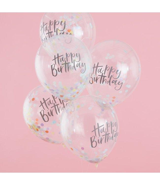 Ginger Ray Confettiballonnen Happy Birthday Pastel | 5 stuks