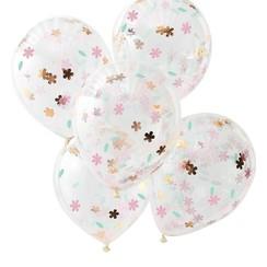 Confettiballonnen Floral goud/roze | 5 stuks