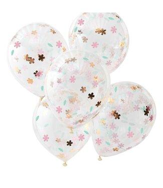 Ginger Ray Confettiballonnen Floral goud/roze | 5 stuks