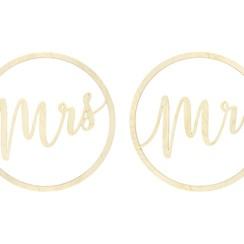 Houten Mr & Mrs Decoratie | 2 stuks