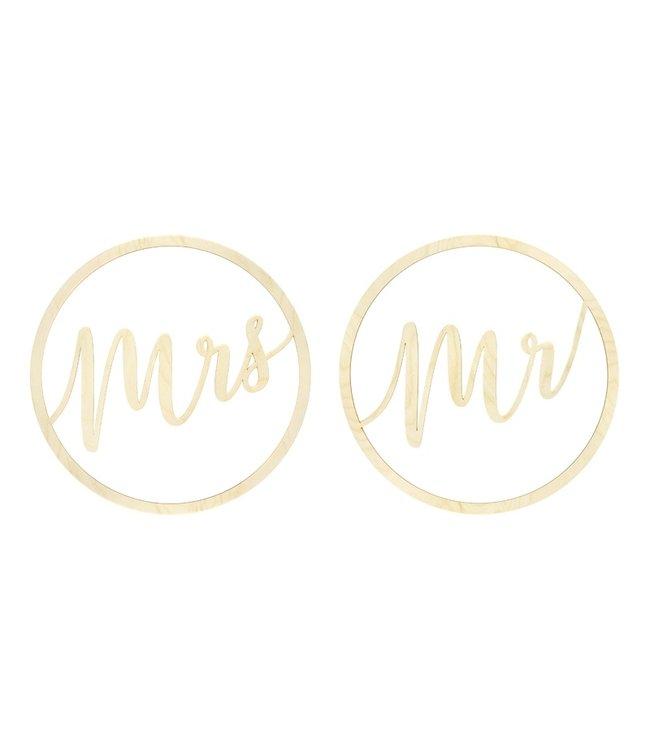 PartyDeco Houten Mr & Mrs Decoratie | 2 stuks