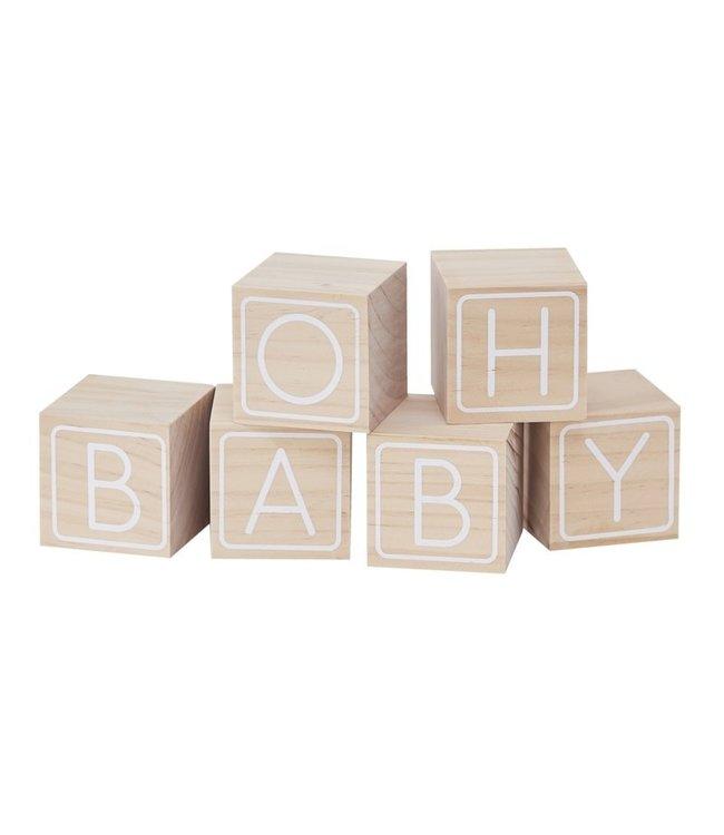 Ginger Ray Oh Baby houten blokken | Gastenboek | Babyshower | Geboorte
