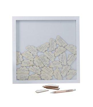 Ginger Ray Gastenboek fotolijst met houten wolkjes | Babyshower | Geboorte | Communie