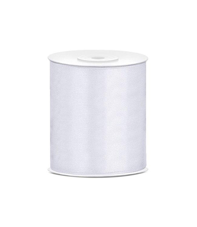 PartyDeco Satijnen lint wit 10 cm breed- 25m lang | Openingslint | Bruiloft