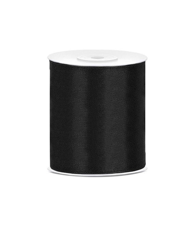 PartyDeco Satijnen lint zwart10cm breed- 25m lang | Openingslint