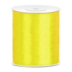 Satijnen lint geel 10cm breed- 25m lang | Openingslint