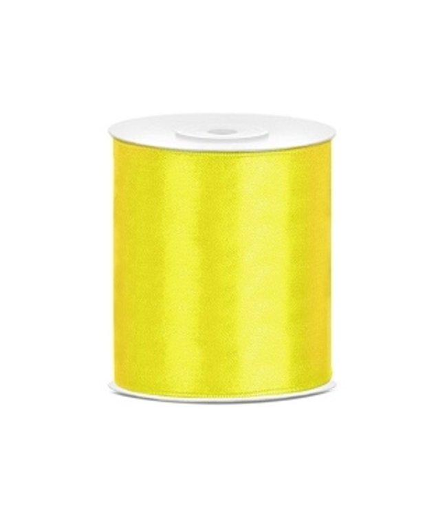 PartyDeco Satijnen lint geel 10cm breed- 25m lang | Openingslint