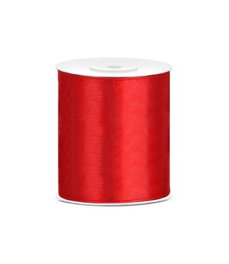 PartyDeco Satijnen lint rood 10cm breed- 25m lang   Openingslint