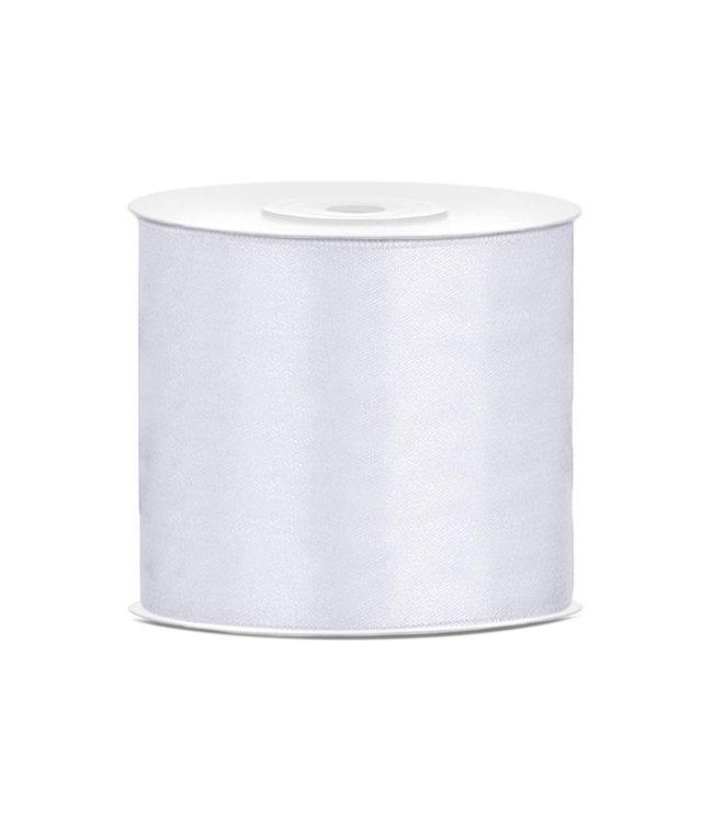 PartyDeco Satijnen lint wit 7,5 cm breed- 25m lang | Openingslint | Bruiloft