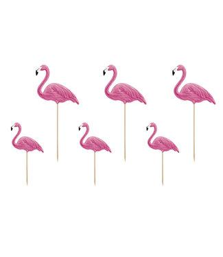 PartyDeco Flamingo toppers 6 stuks