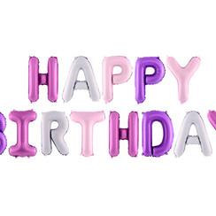 Happy Birthday folieballon - roze-paars