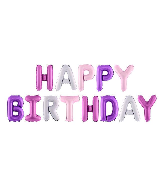 PartyDeco Happy Birthday folieballon - roze-paars
