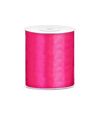PartyDeco Satijnen lint roze  10 cm breed- 25m lang   Openingslint   Bruiloft