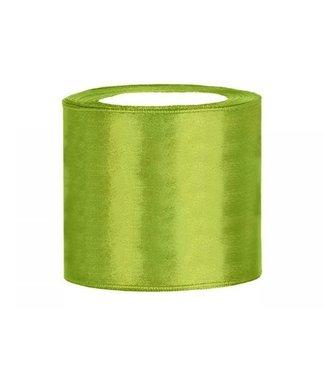 PartyDeco Satijnen lint groen 7,5 cm breed- 25m lang   Openingslint