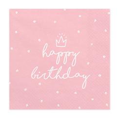 Servetten Happy Birthday Roze | Verjaardag | 20 stuks