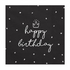 Servetten Happy Birthday Zwart | Verjaardag | 20 stuks