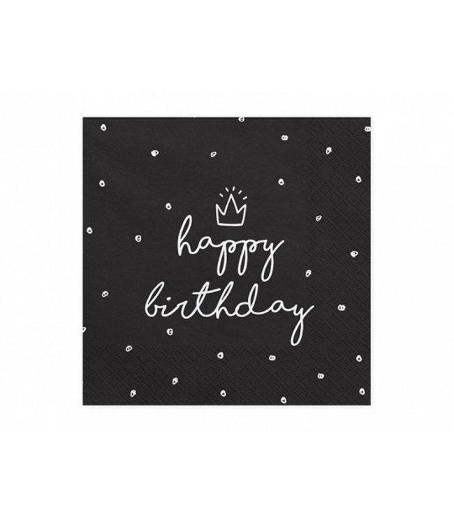 PartyDeco Servetten Happy Birthday Zwart | Verjaardag | 20 stuks