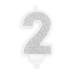 Verjaardagskaars cijfer 2 | Zilver glitters