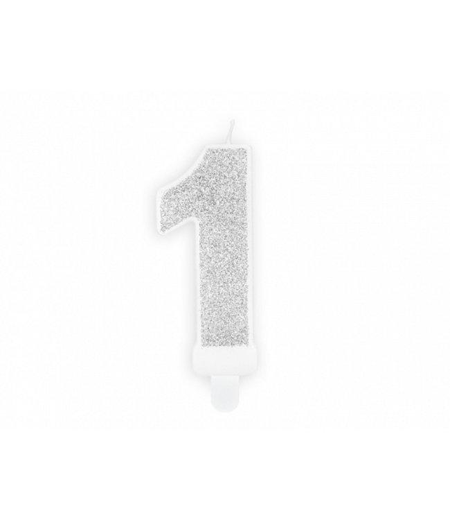 PartyDeco Verjaardagskaars cijfer 1 | Zilver glitters
