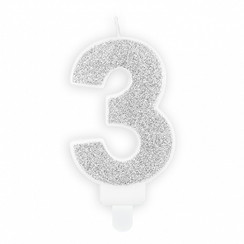Verjaardagskaars cijfer 3 | Zilver glitters