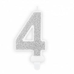 Verjaardagskaars cijfer 4 | Zilver glitters