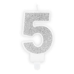 Verjaardagskaars cijfer 5 | Zilver glitters