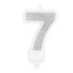 Verjaardagskaars cijfer 7 | Zilver glitters