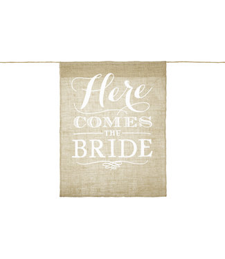 PartyDeco Here comes the bride - Jute banner