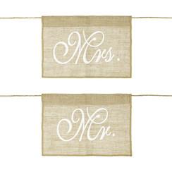 Stoeldecoratie Mr & Mrs Jute | 2 stuks
