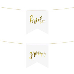 Stoeldecoratie Bride - Groom wit goud | 2 stuks