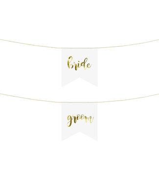PartyDeco Stoeldecoratie Bride - Groom wit goud | 2 stuks