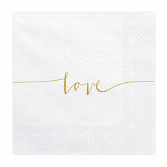 Servetten love | wit-goud