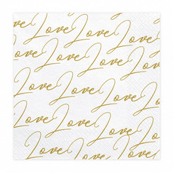 Servetten love - love - love | wit-goud