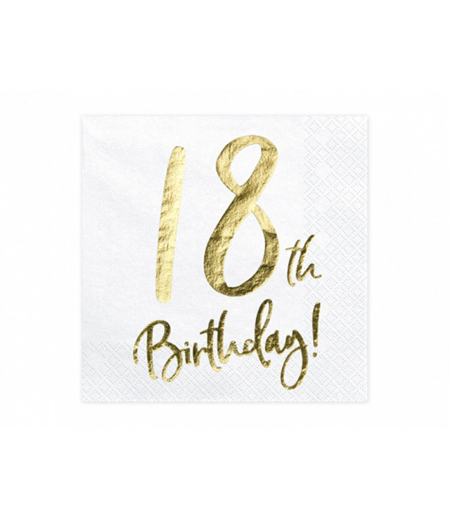 PartyDeco Servetten 18th birthday   20 stuks