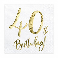 Servetten 40th birthday | 20 stuks