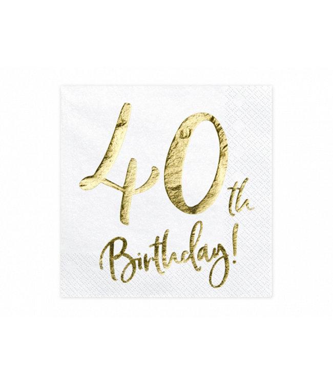 PartyDeco Servetten 40th birthday | 20 stuks