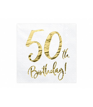 PartyDeco Servetten 50th birthday | 20 stuks